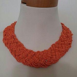 Jewelry - Orange chunky braided seed bead necklace